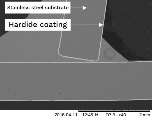 Brazed joint of Hardide coated components